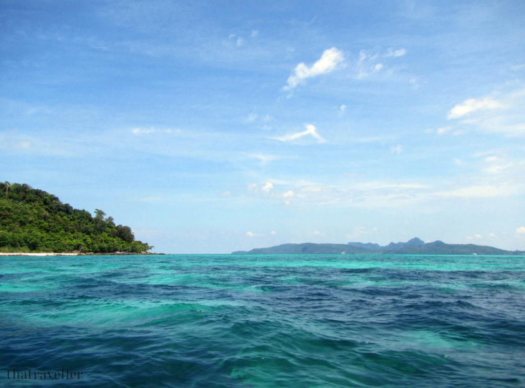 Bamboo Island (left) and Phi Phi Don (right) from Mosquito Island