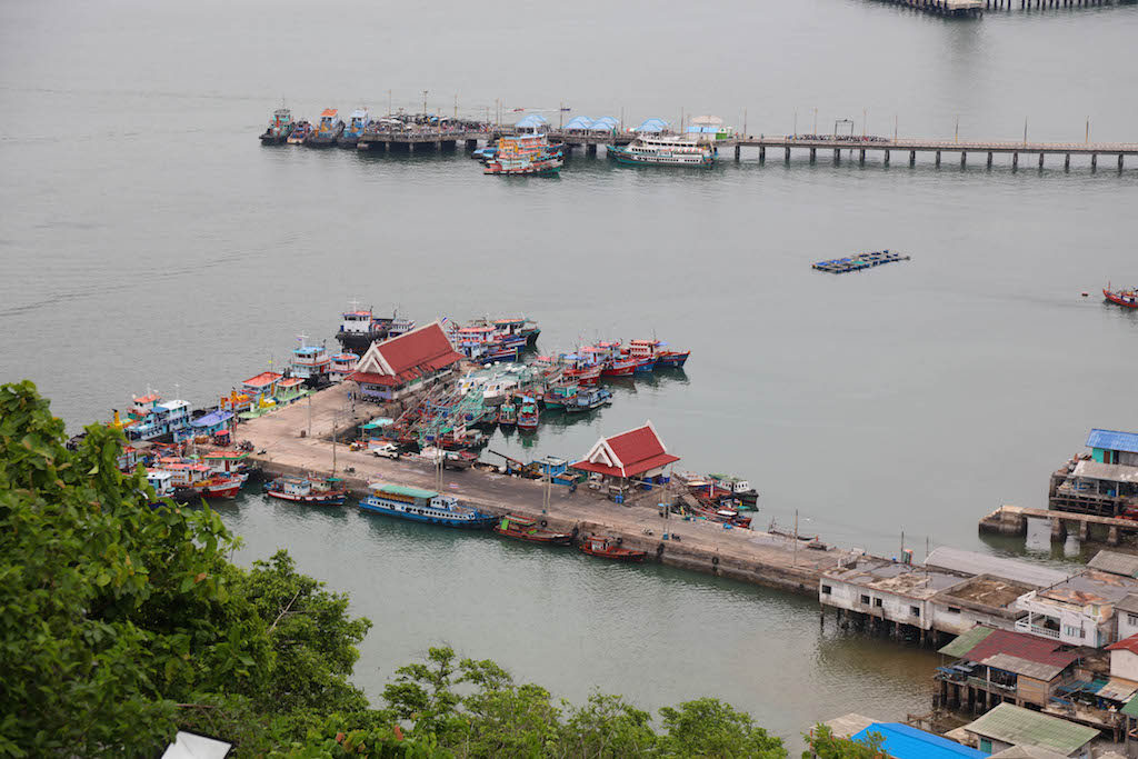 The wharf further away is where you will arrive in Koh Sichang